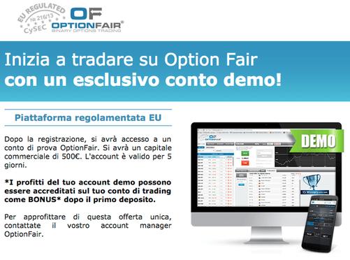 Apri un conto demo con OptionFair gratis