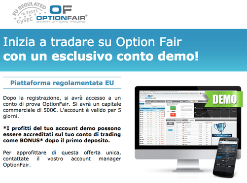 Apri un conto demo con OptionFair gratis