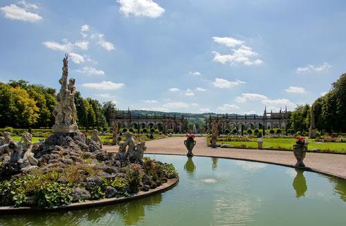 Blick in den traumhaften Schlossgarten von Weikersheim