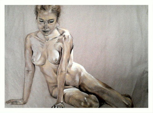 Nude in pastels and coloured charcoal