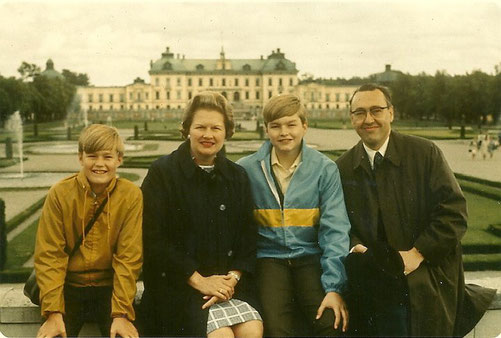 The Lindgrens (I'm on the left) are pictured in 1970 at Drottningholm Palace in Stockholm, Sweden.