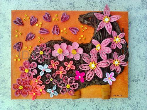 Paper - Quillling - Füllhorn mit Blumen und Herzen