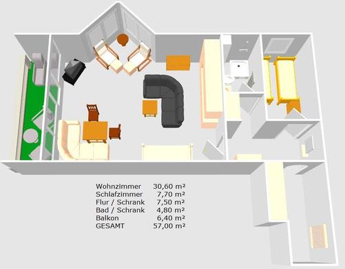 Zimmerplan Wohnung 64