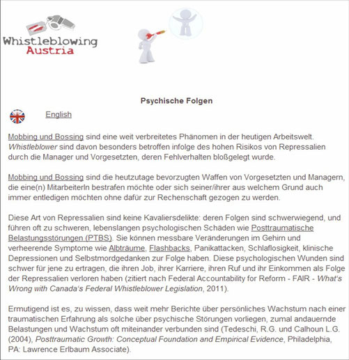 Quelle: http://www.whistleblowing.at/Whistleblowing_Austria/Psychische_Folgen.html