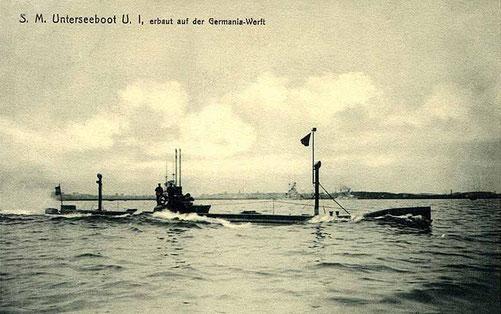 SM U1, Seiner Majestät Unterseeboot U1 von der Germaniawerft  (Quelle Wikipedia)