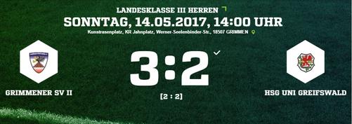 Nach zuletzt 7 ungeschlagenen Spielen verliert die HSG mit 3:2 in Grimmen