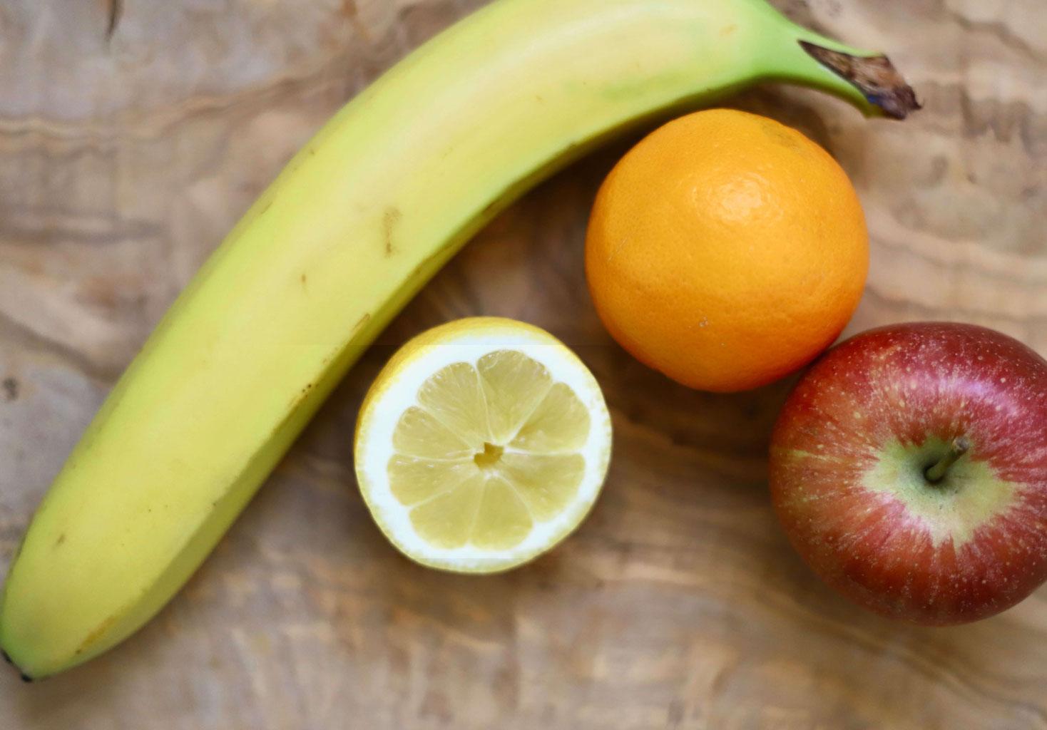 Banane, Zitrone, Orange, Apfel, Obst