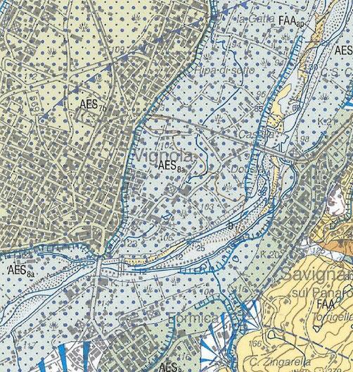 Carta geologica dell'area di Vignola.