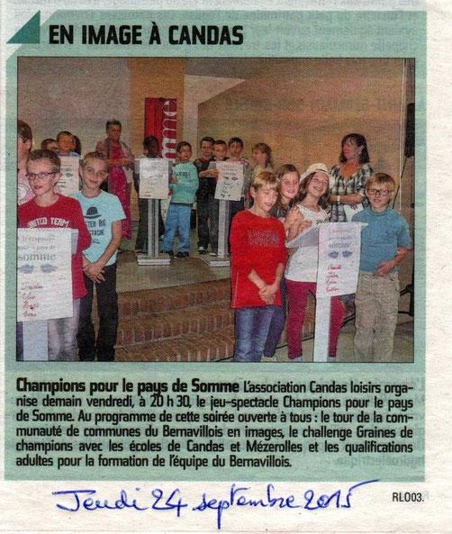 Soirée de Candas - Article du Courrier Picard - Septembre 2015