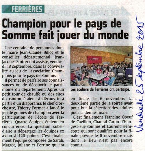 Soirée de Ferrières - Article du Courrier Picard - Septembre 2015