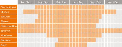 Insektenaktivität über das Jahr