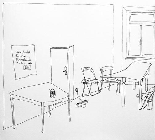 Nina Gross Kunst Zeichnung art drawing Wohnräume