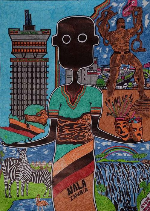 NALA in Lusaka 2, gezeichnet von Steve Mwansa, Lusaka, Zambia / Tinte auf Papier