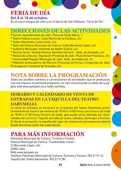 Feria y Fiestas de San Lucas en Jaén Programa