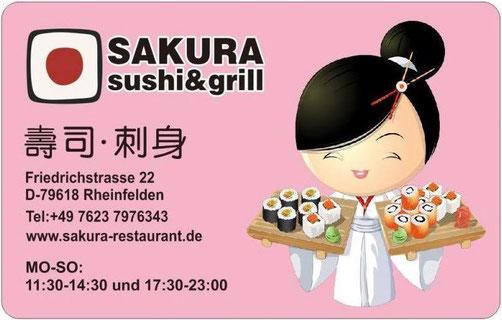 Visitenkarte Sakura Sushi und Grill Restaurant Rheinfelden