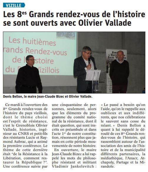 Dauphiné Libéré, Romanche & Oisans, Vizille, édition du 25 mai 2019.