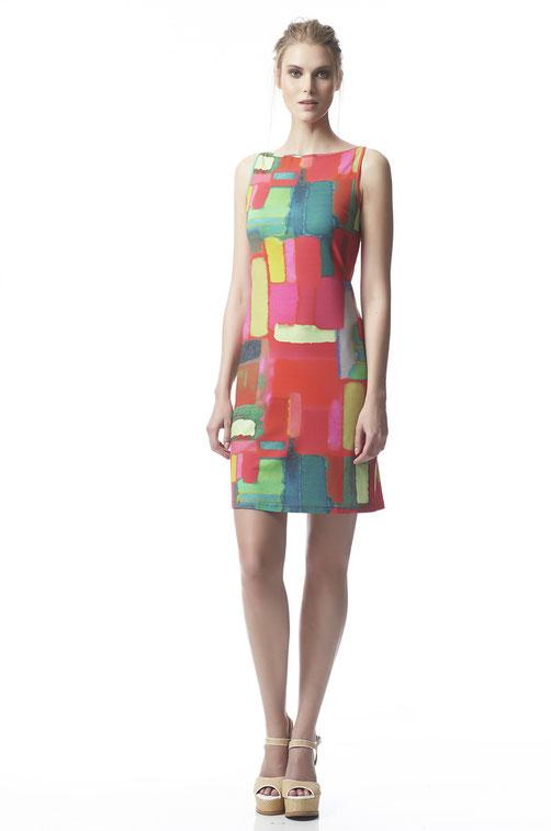 Fox´s Kleid Jupi aus Viskose mit geografischen Muster ohne Arm Etuikleid