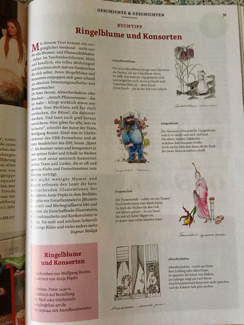 """Pressemeldung im Seniorenmagazin zu """"Ringelblume und Konsorten"""" mit Versen von Wolfgang Reuter und Illustrationen von Antje Püpke"""