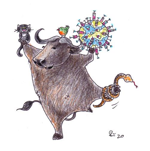 Jahr des Büffels. 2021. Der Büffel hält die Erde, die gespickt ist mit Spritzen der Corona-Impfung, mit dem linken Huf. Auf dem rechten sitzt eine schwarze Katze. Um sein linkes Bein ringelt sich die Schlange.