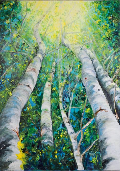 Den Himmel berühren von Barbara Meiler, 100 x 140 cm, Acryl auf Leinwand