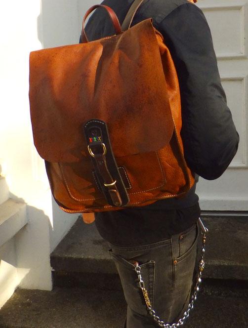 Rucksack Backpack Ökoleder von Hand genäht