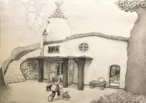 フンデルト・ヴァッサーさんの屋根を歩く家からイメージしました。