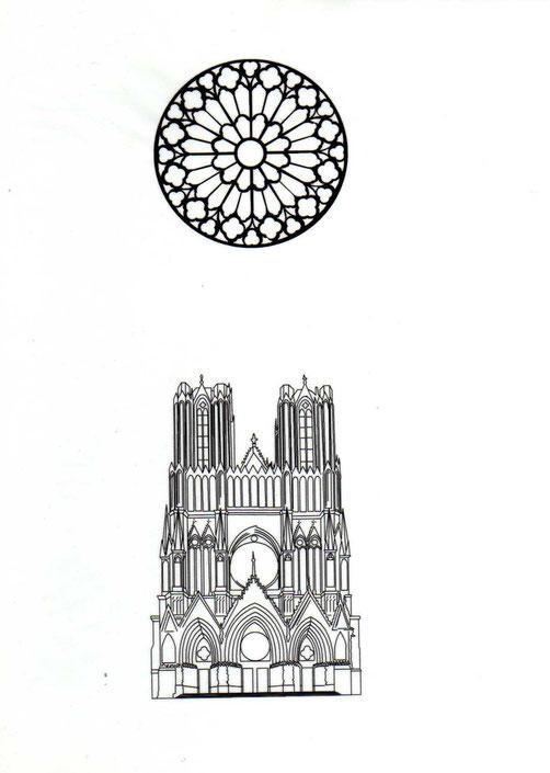 disegno del rosone centrale e della facciata