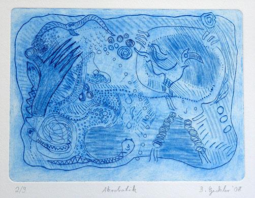 Akrobatik: Strichätzung, Kaltnadel auf Bütten, Auflage 9, 32 x 45 cm, 2008