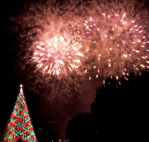 Über einem Weihnachtsbaum in Pittsburgh wird zur Light Up Night ein Feuerwerk an den Nachthimmel gezaubert.