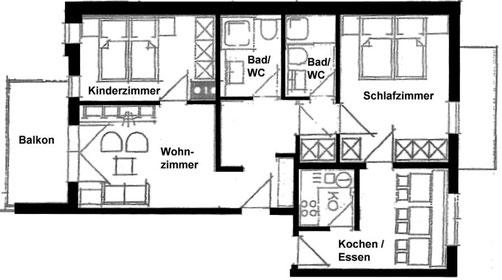 Wertach-Ferienwohnungen.de  Grundriss der Ferienwohnung Sonnenschein mit 2 Schlafräumen und 2 Bädern