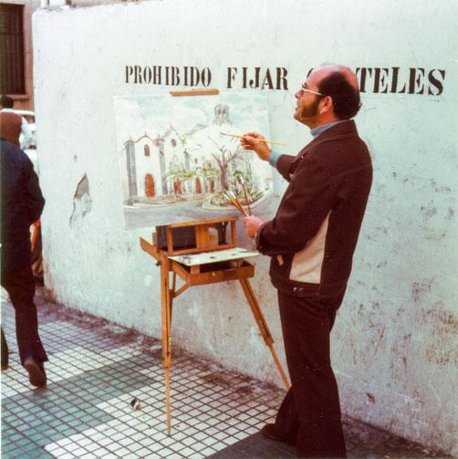 Peraza pintando la Iglesia de San Francisco. Años 70
