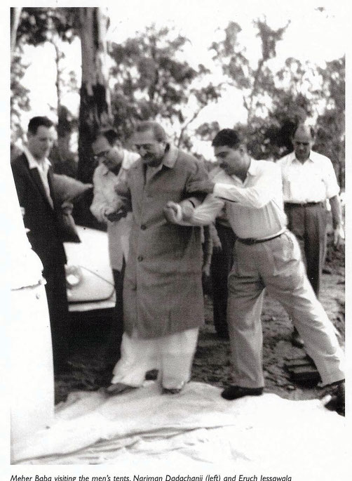 12.  Avatar's Abode. ( L-R ) Stan Adams, Nariman, Meher Baba, Eruch & Dr. O'Brien.  Photo taken by Colin Adams, courtesy of Avatar's Abode Archives.