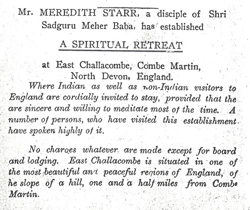 "1929 ; Adversiting in the magazine ""Meher Message""."