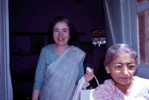U.Meherabad, India : Mani visiting Mansari at her quarters. Photo taken by Clive Adams-1971-3.