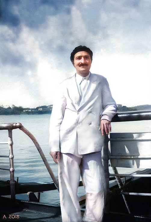 Meher Baba on board the M.V. Circassia. Image colourized & enhanced by Anthony Zois