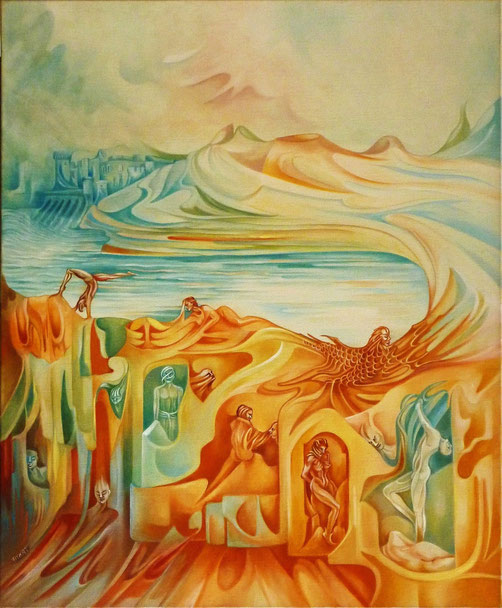 """""""Naissance du monde (II)"""".  60 x 73 cm. Huile sur toile."""