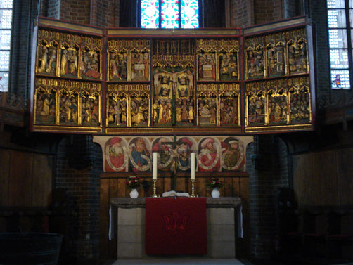 geschnitzter Flügelaltar aus der ehem. Lambertikirche (Mitte 15.Jh.)
