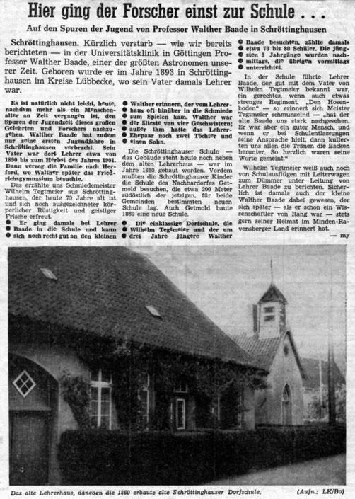 Ausschnitt aus der Lübbecker Kreiszeitung aus dem Jahr 1960