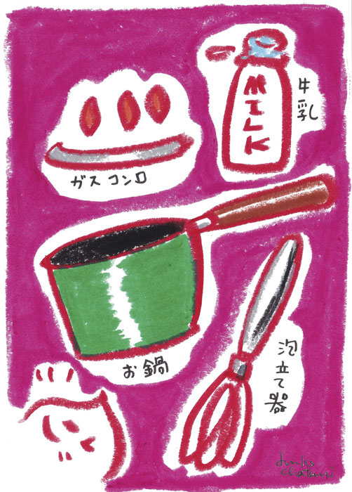 茶谷順子 コーヒーブログ お鍋でミルクを泡立ててみるイラスト