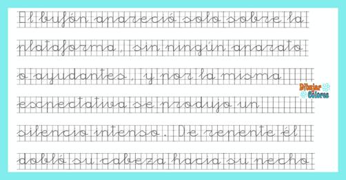 caligrafía fuente punteada pauta cuadriculada