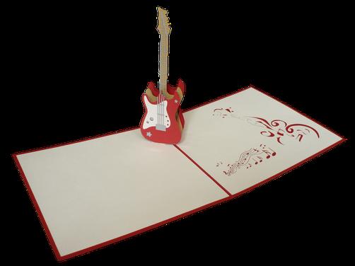 Carte pop-up guitare électrique - Carte d'anniversaire guitare
