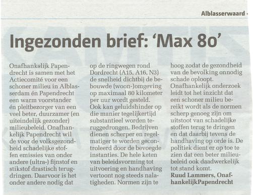Artikel in het Papendrechts NIeuwsblad - oktober 2015