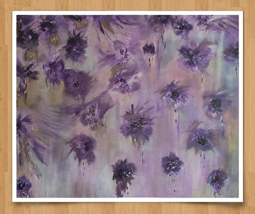Blütenregen  90 x 90cm  Acryl auf Leinwand   -verkauft-