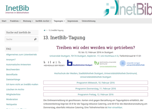 Die Website der 13. InetBib-Tagung