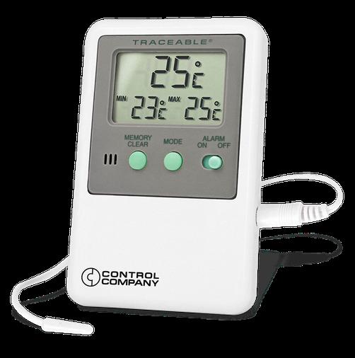 Termómetro digital con sonda plástica externa y certificado trazable a NIST 4048