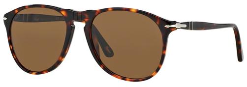 Occhiali da sole uomo Persol Modello: 9649S. Colore: 24/57 tartarugato. Colore lenti: marrone polarizzate. Calibro 52-18, 55-18. Forma: Pilot. Materiale: plastica. Protezione UV 100%