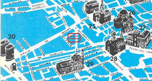 Mapa de donde sen encuentran las murallas árabes de València en la Plaza del Tossal.a Plaza del Tossal.