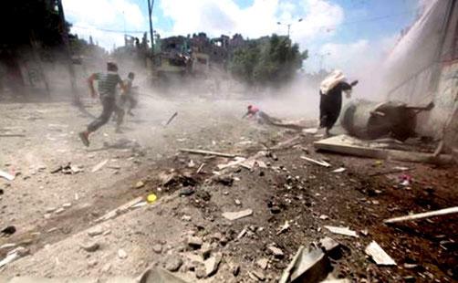 Israelsk militær bomber Gaza, den 21. juli 2014