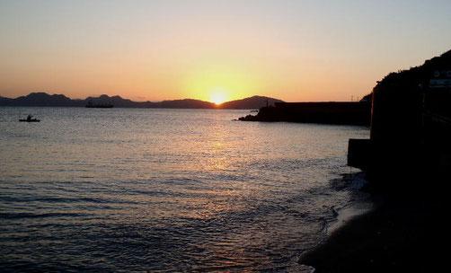 志賀島中間育成施設からの夕陽