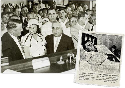 Nella foto a destra William Jurges riceve i giornalisti dal letto di ospedale (l'atteggiamento è più che altro divertito) a sinistra Violet Valli Popovich al processo tra i suoi avvocati (da notare la mano sinistra fasciata)